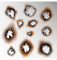 burnt hole paper set scorched piece burn object vector image