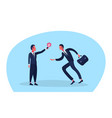 businessman giving colleague light lamp new vector image