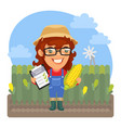 cartoon agronomist with corn vector image vector image