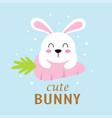 cartoon cute bunny on carrot easter card vector image