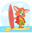 cartoon summer holiday background with fox surfer vector image vector image