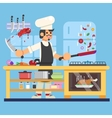 Chef prepares in kitchen Flat vector image vector image