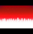 Christmas tree snow red sky vector image
