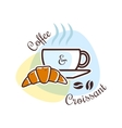 Coffee and croissant emblem vector image vector image