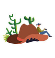 cowboy hat and cacti wild west or western isolated vector image vector image
