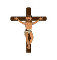 crucified jesus cartoon vector image vector image