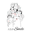 cute baanimal with cartoon hand drawn style vector image