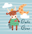 cute happy cow characters idea for print t-shirt vector image
