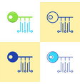 Digital key icon set in flat and line style