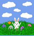 easter bunny and eggs with stickers on grass vector image