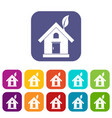 eco house concept icons set vector image vector image
