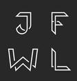 elegant letters set w j f l logos creative vector image