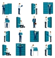 Flat Datacenter Icons Set vector image vector image