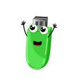 funny usb flash drive cartoon character vector image
