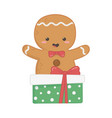 gingerbread man with gift decoration merry vector image vector image