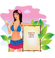 Girl with banner vector image