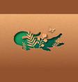 green paper cut crocodile animal nature leaf vector image