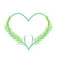 Green Rice or Jasmine Rice in A Heart Shape vector image