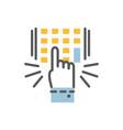 hand finger entering pin code solid icon vector image
