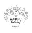 happy birthday sketch background birthday vector image vector image