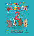 invitation card for children s birthday party vector image vector image