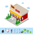 isometric city fast food bar with table and trees vector image vector image