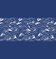 japan wave ocean seamless wallpaper vector image vector image