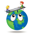 kids playing on earth vector image vector image