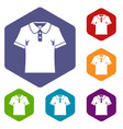 men polo shirt icons set hexagon vector image vector image