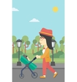 Mother walking with her baby in stroller vector image vector image