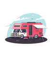 motor home on rest parking fresh air with bbq vector image