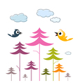 Paper Trees Birds and Clouds vector image