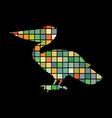 pelican bird mosaic color silhouette animal vector image vector image