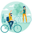 people riding bicycle vector image vector image