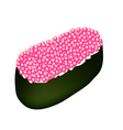 Pink Tobiko Roe Sushi on White Background vector image vector image