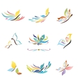 Rainbow butterfly icons set vector image vector image