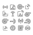 rfid icons set vector image vector image