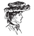 right profile of woman face vintage engraving vector image vector image