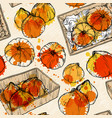 seamless pattern with hand drawn pumpkin vector image vector image