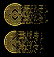 set crypto currency binance flying golden vector image vector image