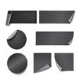 Set of black paper stickers vector image
