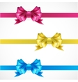 Set of gift bows with ribbons Pink gold and blue vector image vector image