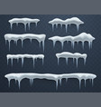 set of ice caps snowdrifts icicles elements vector image