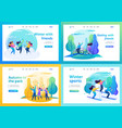 set of landing pages friends have a great time vector image