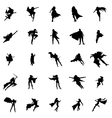 Superhero woman silhouettes set vector image vector image