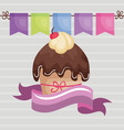 sweet and delicious cupcake with ribbon birthday vector image vector image