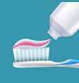 toothbrush with toothpaste dental hygiene teeth vector image