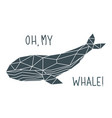 whale print in polygonal style geometric marine vector image vector image