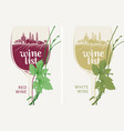 wine list with wine glass grapevine and landscape vector image vector image