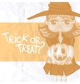 Witch Girl With Pumpkins vector image vector image
